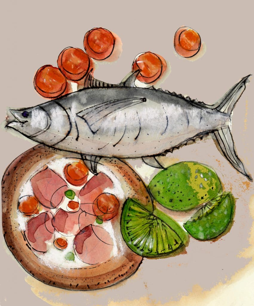 Raw tuna Tahitian style with white wines - Olivier Poussier Best